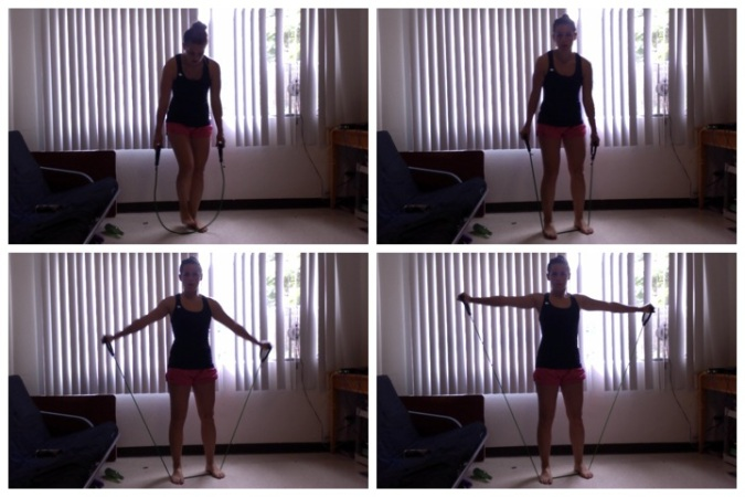 Resistance band's most basic workout - stay tuned for more!